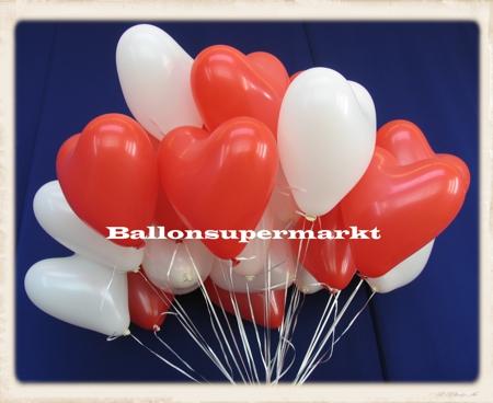 Herzluftballons Hochzeit mit Helium an Ballonbändern