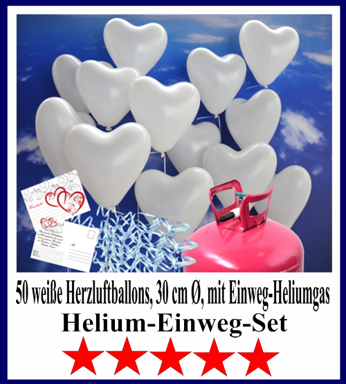 50 weiße Herzluftballons zur Hochzeit steigen lassen. Helium-Einweg-Set. 5 Sterne Angebot vom Ballonsupermarkt-Onlineshop