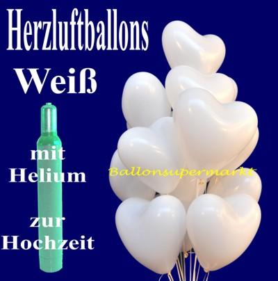 Ballons Helium Sets mit weißen Herzluftballons zur weißen Hochzeit vom Ballonsupermarkt-Onlineshop