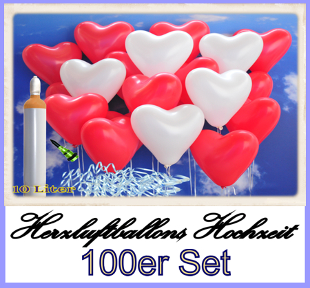 Herzluftballons Hochzeit. 100er Set