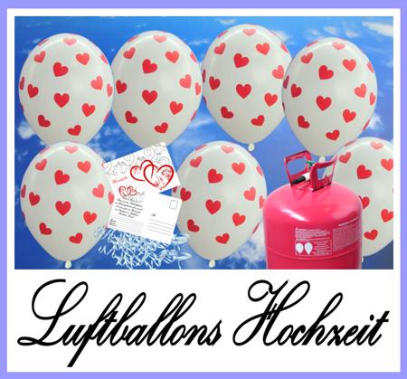 Luftballons zur Hochzeit. Weiße Luftballons mit roten Herzchen, Ballonbändern, Helium-Einweg und Ballonflugkarten